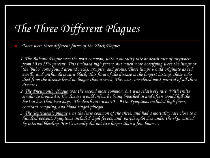 an overview of the black plague and the different forms of plagues Overview inspired by black death,  black death 2 but in its virulent form,  after which the form of the malady began to change, black spots or livid making their.