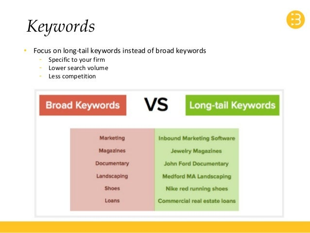 Keywords  • Focus on long-tail keywords instead of broad keywords  - Specific to your firm  - Lower search volume  - Less ...