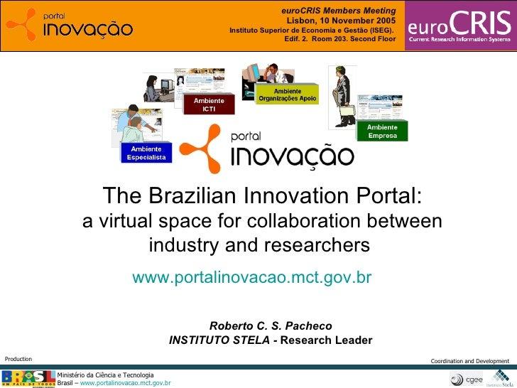 Roberto C. S. Pacheco INSTITUTO STELA -  Research Leader The Brazilian Innovation Portal: a virtual space for collaboratio...
