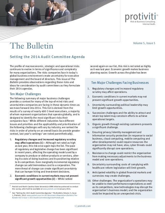 The Bulletin  Volume 5, Issue 5  Setting the 2014 Audit Committee Agenda The profile of macroeconomic, strategic and opera...