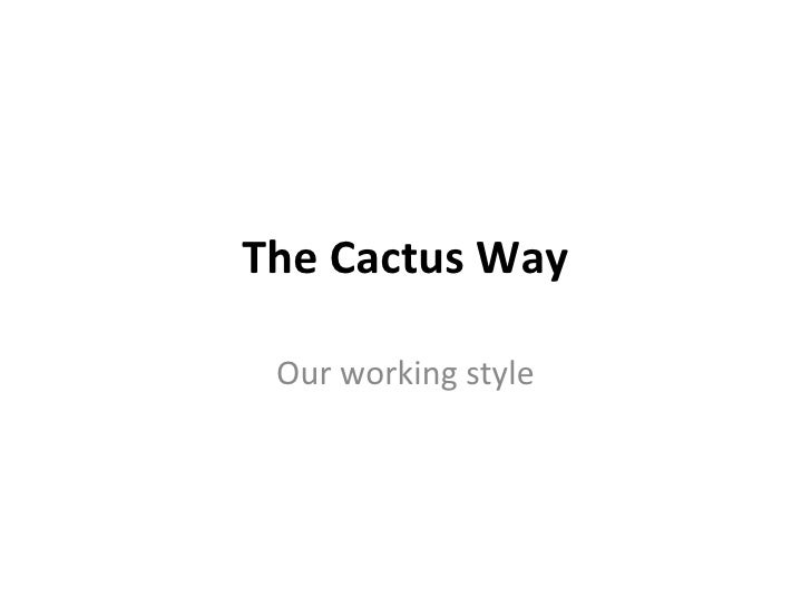 The Cactus Way Our working style