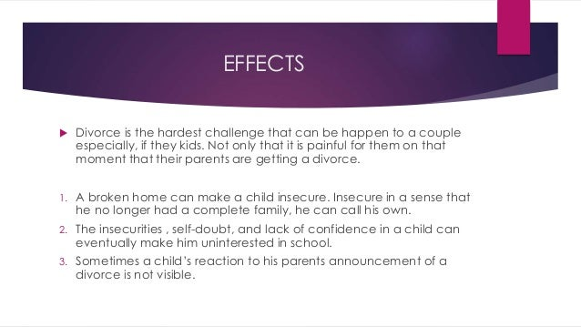 impact of broken family on children Hawkins, david and lloyd, karen, the negative effects of divorce on the behavior of children (1976) viii problems of children in families of.