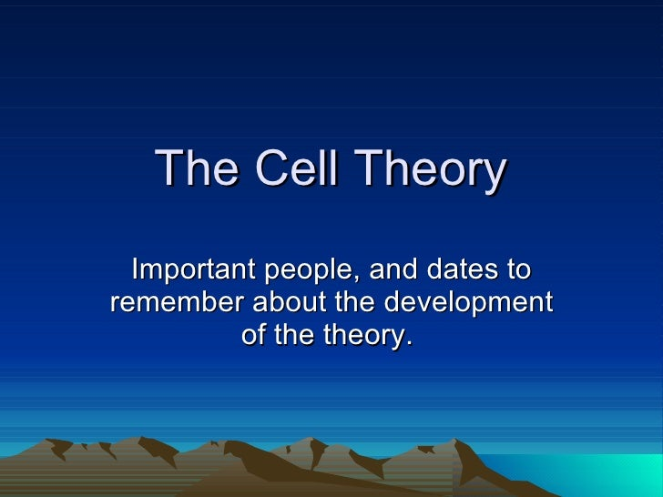 The Cell Theory Important people, and dates to remember about the development of the theory.