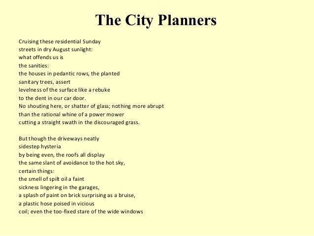 The poem the City Planners