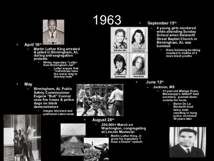"1963 <ul><li>May </li></ul><ul><ul><li>Birmingham, AL Public Safety Commissioner Eugene ""Bull"" Connor uses fire hoses & po..."