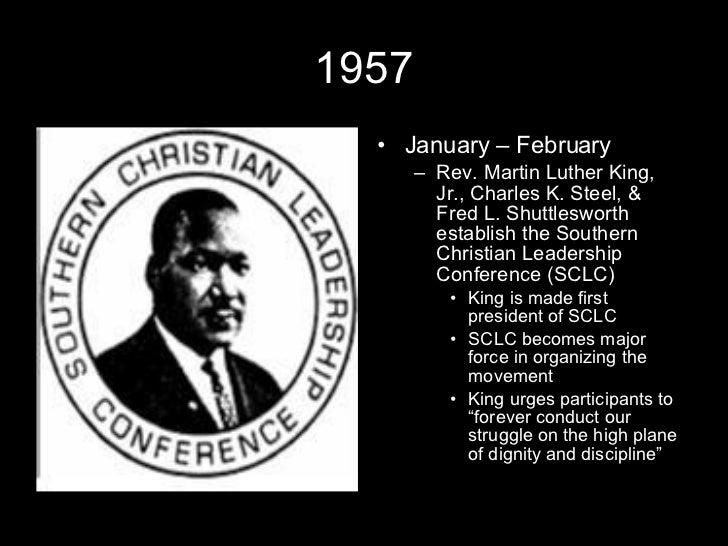1957 <ul><li>January – February </li></ul><ul><ul><li>Rev. Martin Luther King, Jr., Charles K. Steel, & Fred L. Shuttleswo...