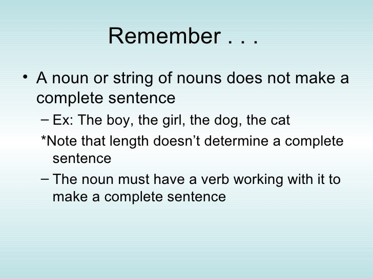 The Complete Sentence Ppt
