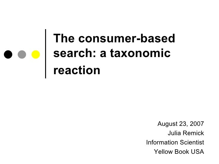 The consumer-based search: a taxonomic reaction   August 23, 2007 Julia Remick Information Scientist Yellow Book USA