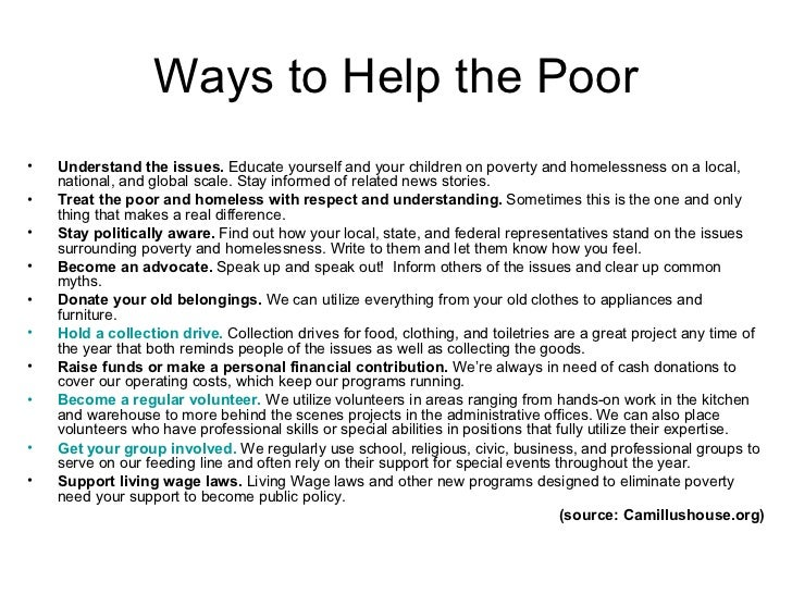 Ways to help the poor essay