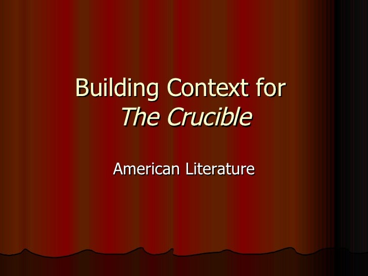 a crucible of american identity essay Get access to hysteria in crucible essays only from anti essays listed results 1 - 30 get studying today and get the grades you want only at.