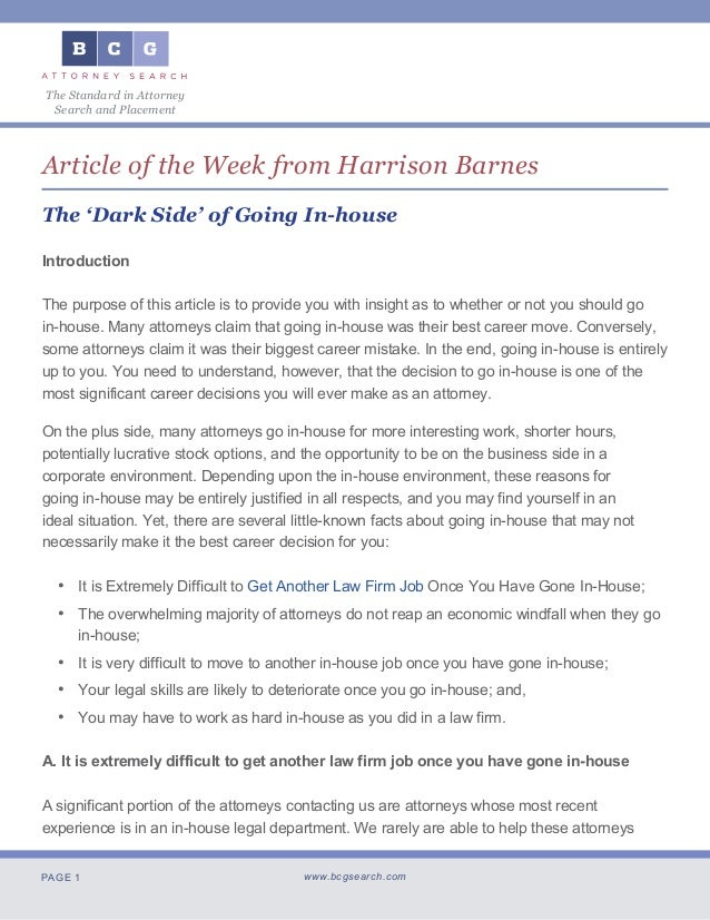 PAGE 1 www.bcgsearch.com The Standard in Attorney Search and Placement Article of the Week from Harrison Barnes The 'Dark ...