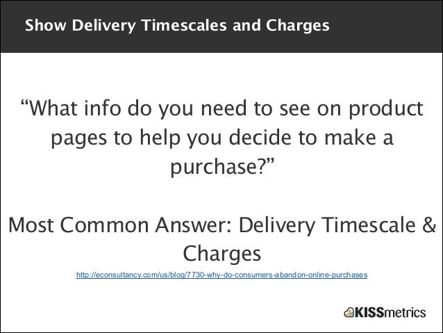 """Show Delivery Timescales and Charges  """"What info do you need to see on product pages to help you decide to make a purchase..."""