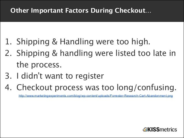 Other Important Factors During Checkout…  1. Shipping & Handling were too high. 2. Shipping & handling were listed too lat...