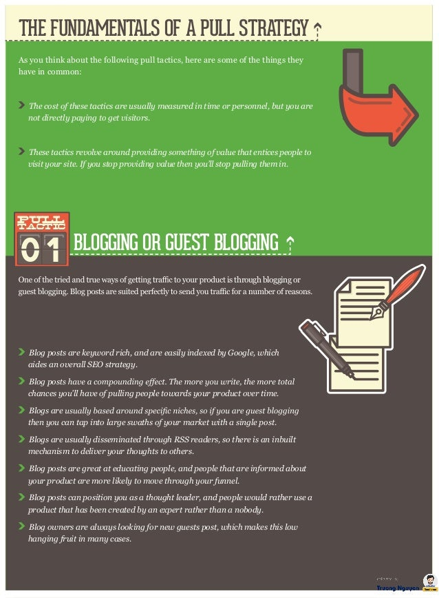 THE FUNDAMENTALS OF A PULL STRATEGY BLOGGING OR GUEST BLOGGING As you think about the following pull tactics, here are som...