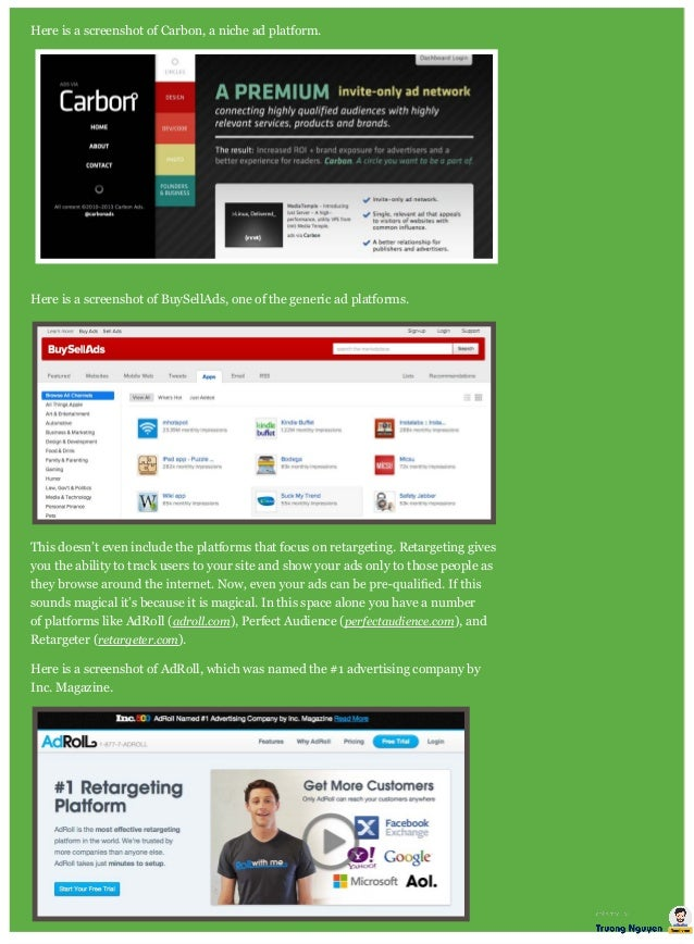 Here is a screenshot of Carbon, a niche ad platform. Here is a screenshot of BuySellAds, one of the generic ad platforms. ...