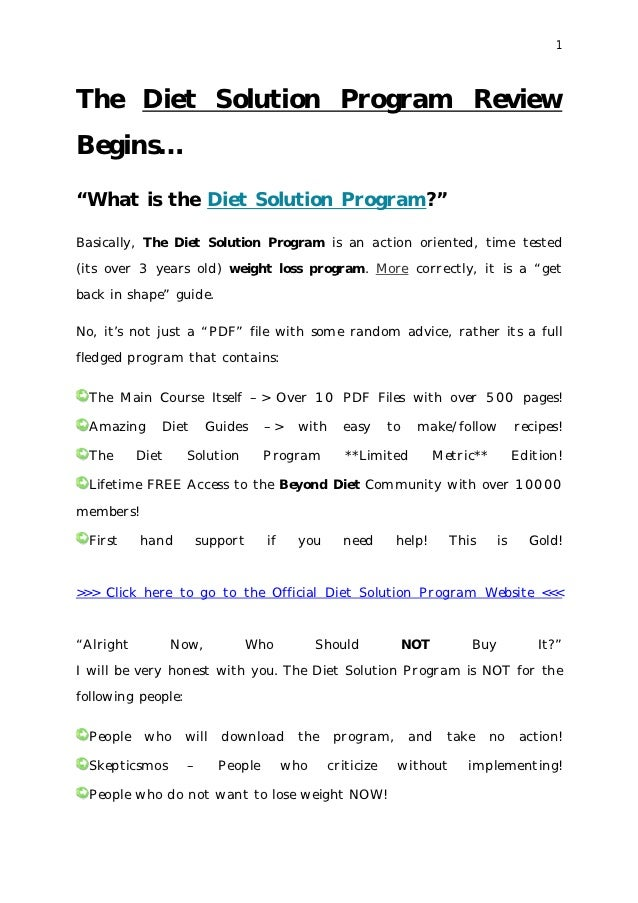 """1The Diet Solution Program ReviewBegins…""""What is the Diet Solution Program?""""Basically, The Diet Solution Program is an act..."""