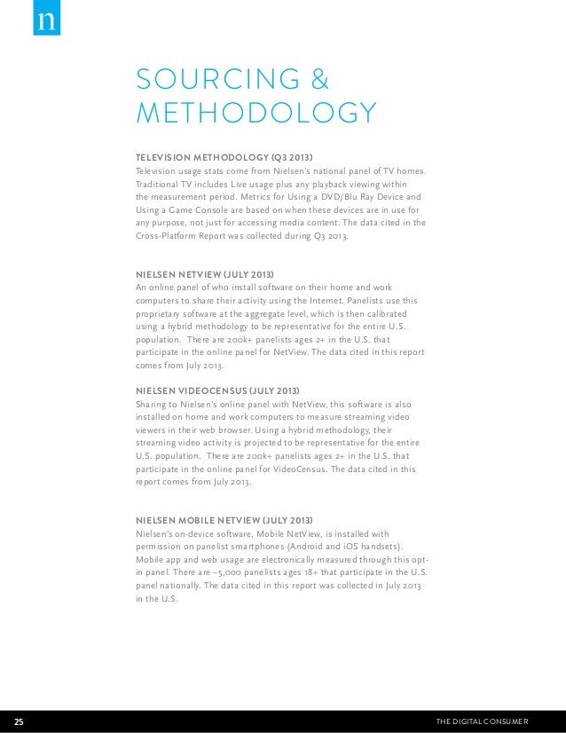 SOURCING   METHODOLOGY  TELEVISION METHODOLOGY (Q3 2013)  Television usage stats come from Nielsen's national panel of TV ...