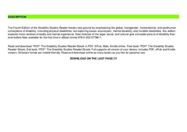 ^PDF^ The Disability Studies Reader Ebook Slide 3