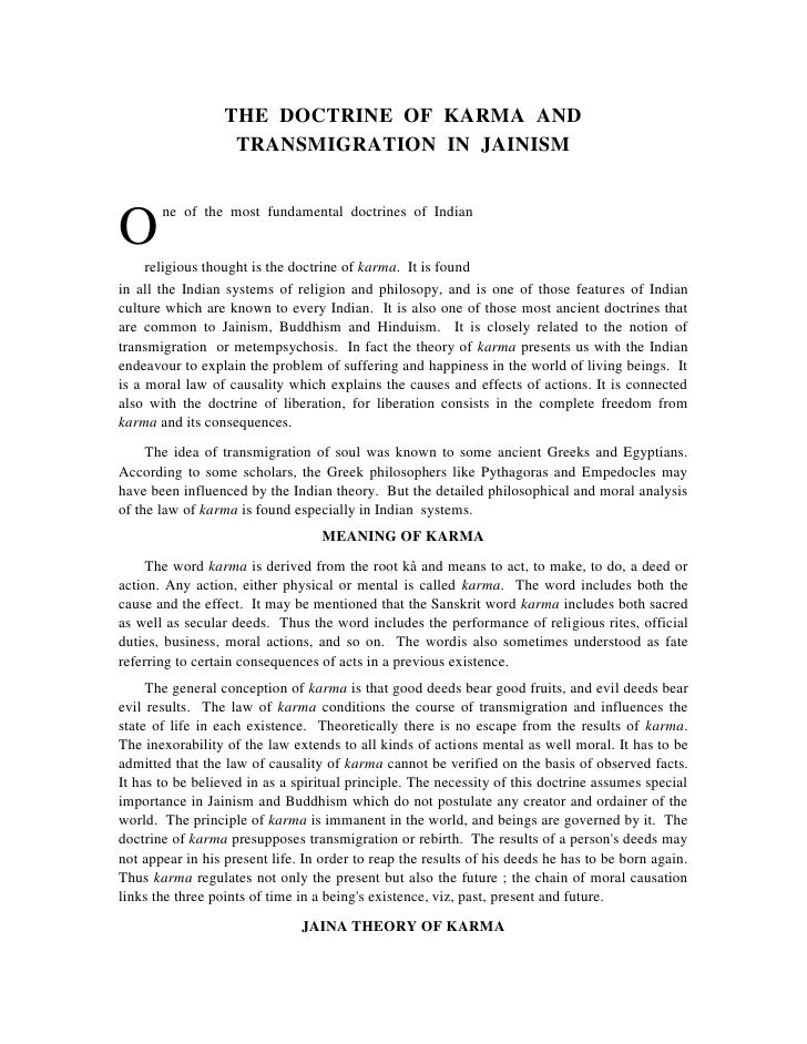 THE DOCTRINE OF KARMA AND                   TRANSMIGRATION IN JAINISM       ne of the most fundamental doctrines of Indian...
