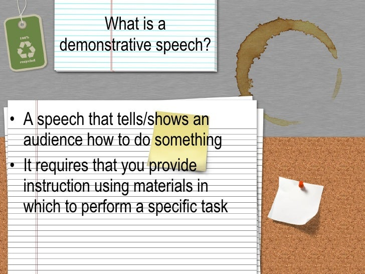 The Demonstrative Speech
