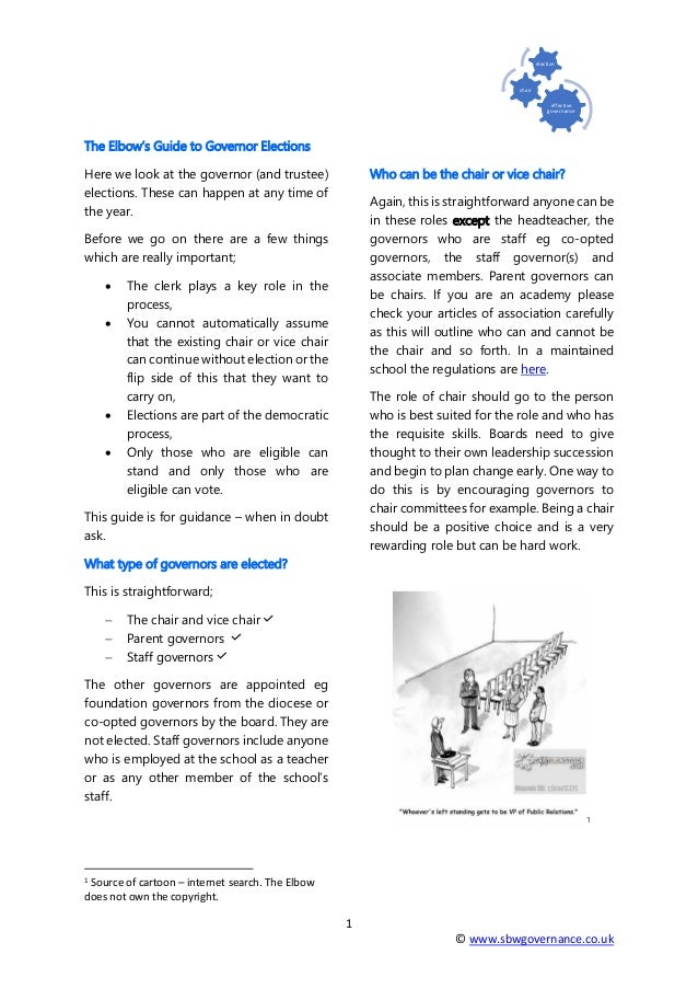 1 © www.sbwgovernance.co.uk effective governance chair election The Elbow's Guide to Governor Elections Here we look at th...