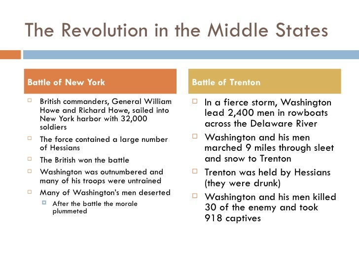 The Revolution in the Middle States <ul><li>British commanders, General William Howe and Richard Howe, sailed into New Yor...
