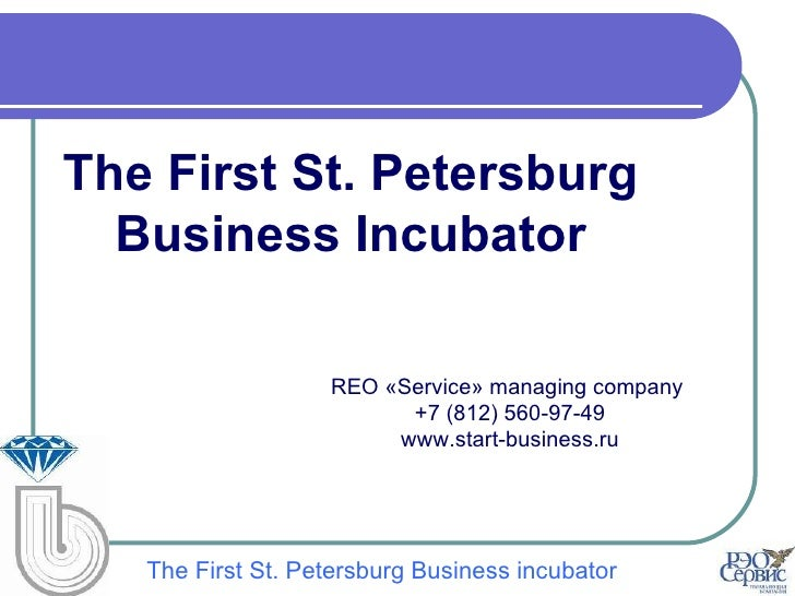 The First St. Petersburg  Business Incubator                   REO «Service» managing company                         +7 (...
