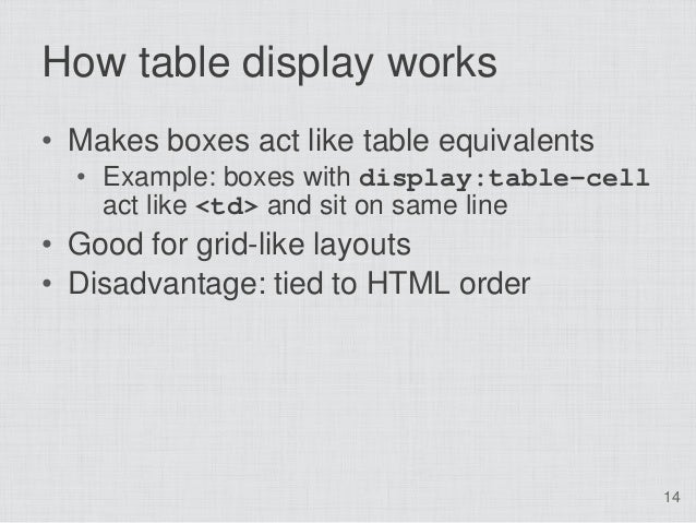 How table display works• Makes boxes act like table equivalents  • Example: boxes with display:table-cell    act like <td>...