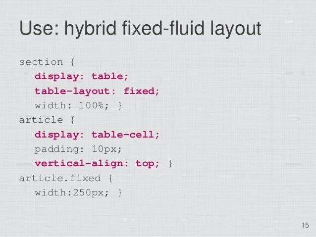 Use: hybrid fixed-fluid layoutsection {   display: table;   table-layout: fixed;   width: 100%; }article {   display: tabl...