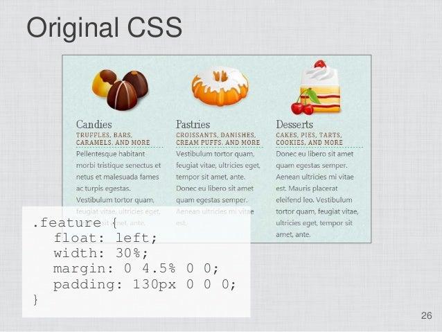 Original CSS.feature {   float: left;  width: 30%;  margin: 0 4.5% 0 0;  padding: 130px 0 0 0;}                          26