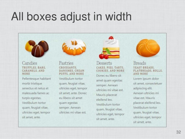 All boxes adjust in width                            32