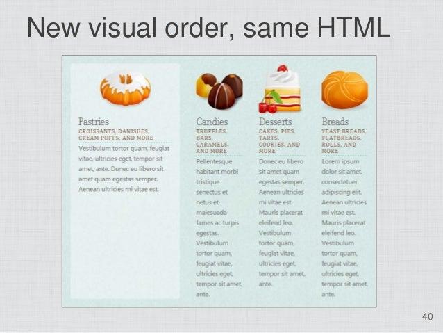 New visual order, same HTML                              40