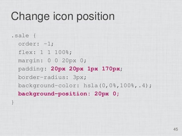 Change icon position.sale {  order: -1;  flex: 1 1 100%;  margin: 0 0 20px 0;  padding: 20px 20px 1px 170px;  border-radiu...