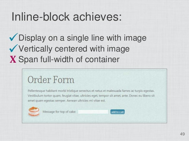 Inline-block achieves:Display on a single line with imageVertically centered with imageX Span full-width of container   ...