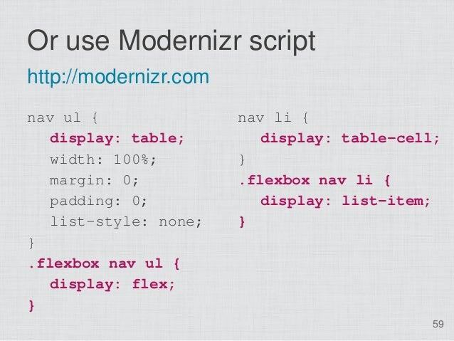 Or use Modernizr scripthttp://modernizr.comnav ul {               nav li {   display: table;        display: table-cell;  ...