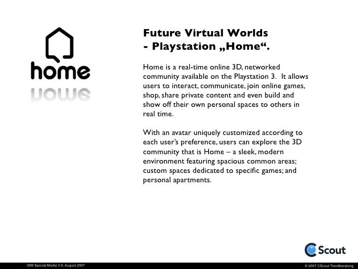 """Future Virtual Worlds - Playstation """"Home"""".                       Official Trailer (Quicktime Video)     GfM Special Media ..."""