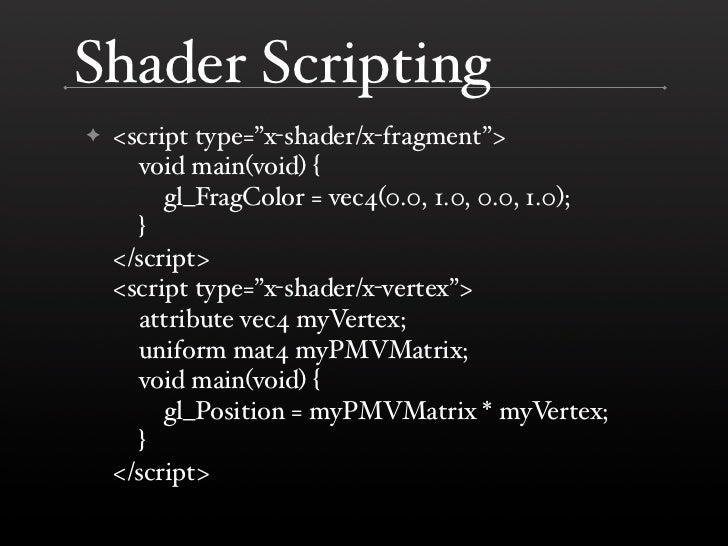 "Shader Scripting     <script type=""x-shader/x-fragment""> ✦       void main(void) {          gl_FragColor = vec4(0.0, 1.0, ..."
