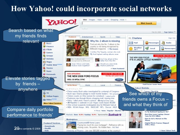 How Yahoo! could incorporate social networks Search based on what my friends finds relevant See which of my friends owns a...
