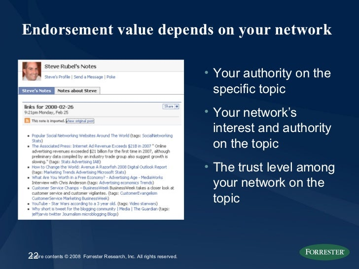 Endorsement value depends on your network <ul><li>Your authority on the specific topic  </li></ul><ul><li>Your network's i...