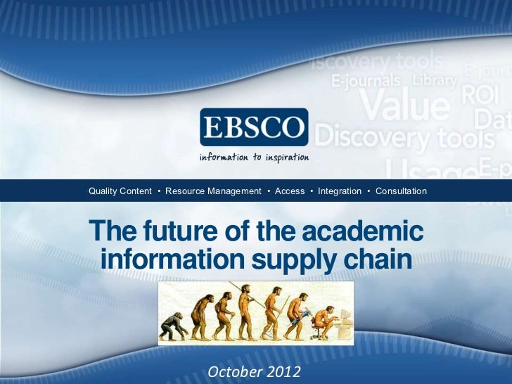 •Quality Content • Resource Management • Access • Integration • ConsultationThe future of the academic information supply ...