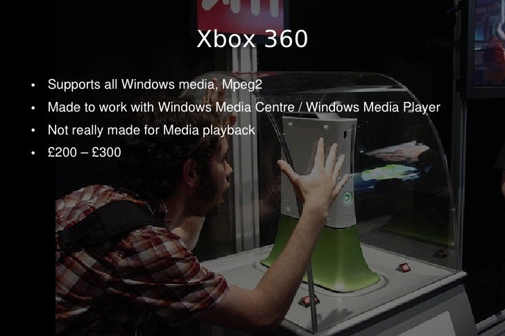 Xbox 360 ●   Supports all Windows media, Mpeg2 ●   Made to work with Windows Media Centre / Windows Media Player ●   Not r...