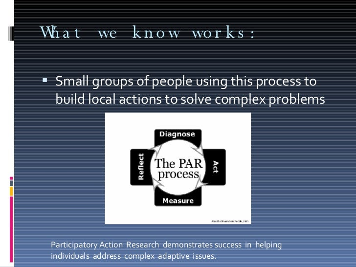 What we know works: <ul><li>Small groups of people using this process to build local actions to solve complex problems </l...