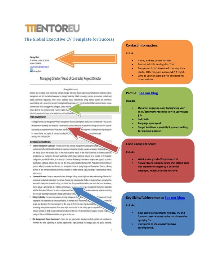 The Global Executive CV Template For Success Profile: See Our Blog Include:   Dynamic ... Inside Executive Profile Template
