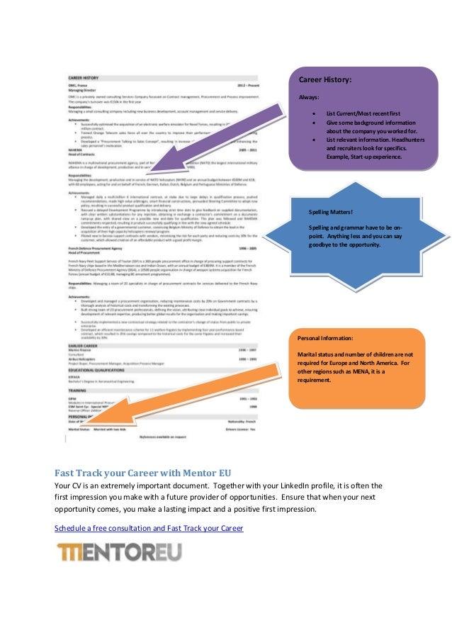 The global executive CV template for career success