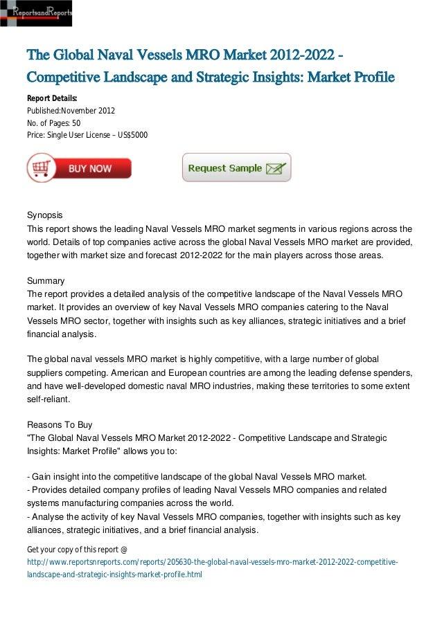 The Global Naval Vessels MRO Market 2012-2022 -Competitive Landscape and Strategic Insights: Market ProfileReport Details:...