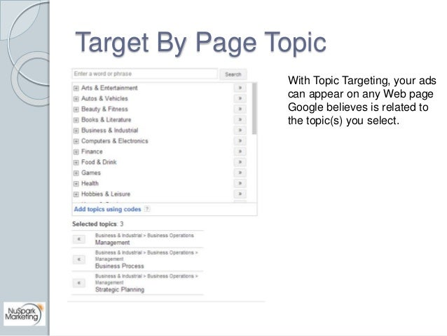 Target By Page Topic  With Topic Targeting, your ads  can appear on any Web page  Google believes is related to  the topic...