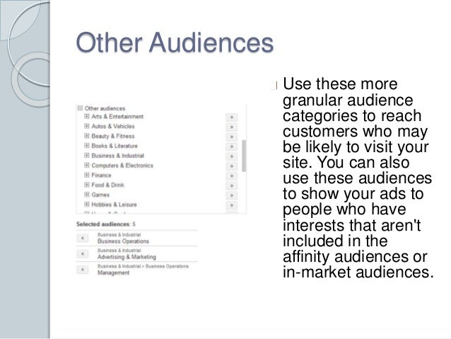 Other Audiences  Use these more  granular audience  categories to reach  customers who may  be likely to visit your  site....