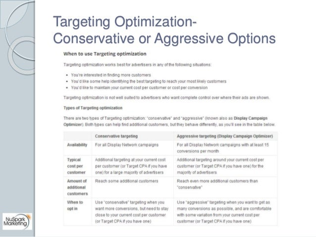 Targeting Optimization-  Conservative or Aggressive Options