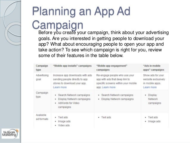 Planning an App Ad  Campaign  Before you create your campaign, think about your advertising  goals. Are you interested in ...