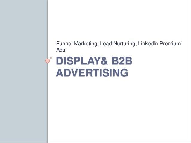 Funnel Marketing, Lead Nurturing, LinkedIn Premium  Ads  DISPLAY& B2B  ADVERTISING